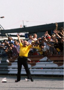Lotus Team Principle Colin Chapman celebrates a win in 1978