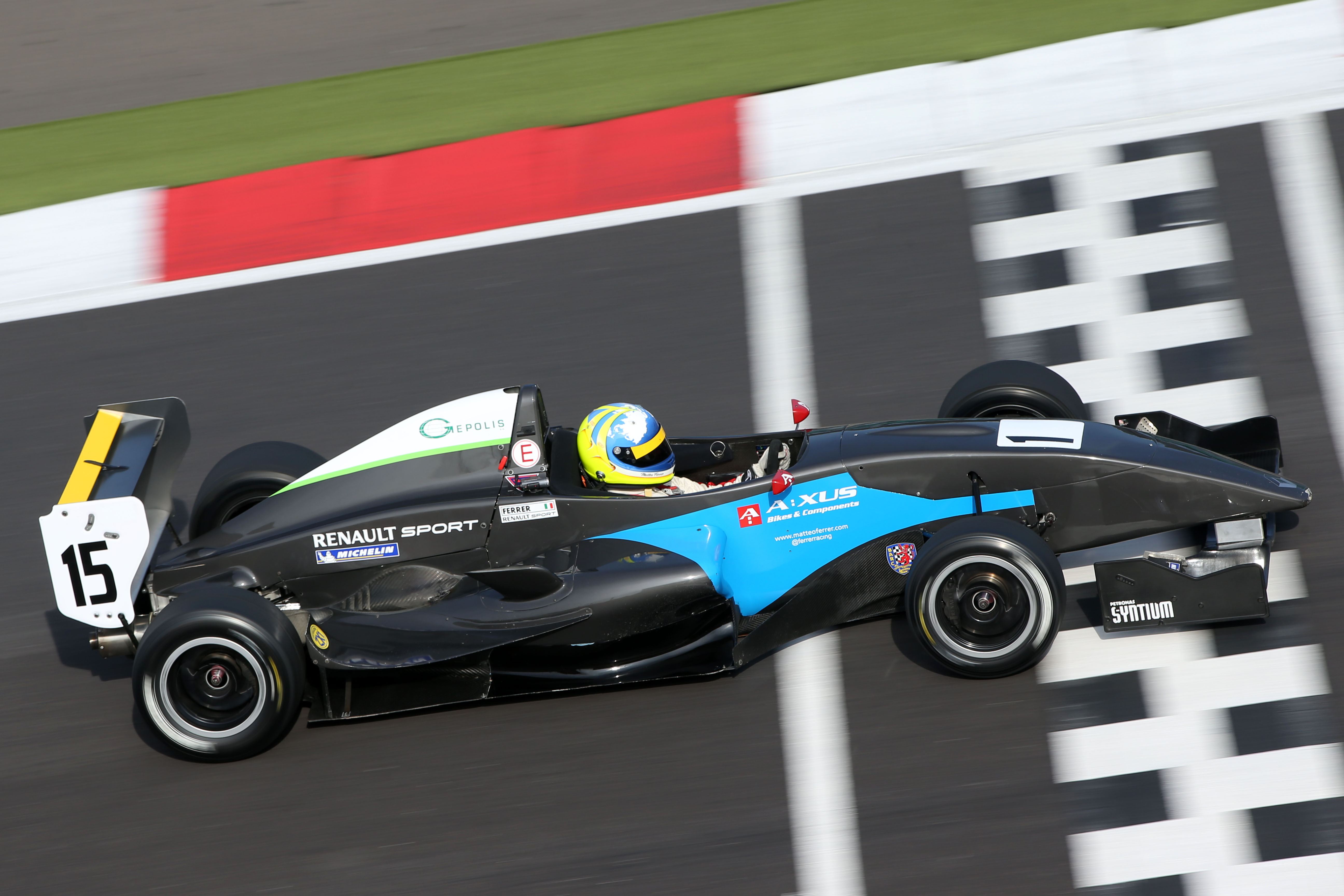 Matteo Ferrer crosses the line at the Northamptonshire track of Silverstone in his MGR Protyre Formula Renault at the last round in September 2013