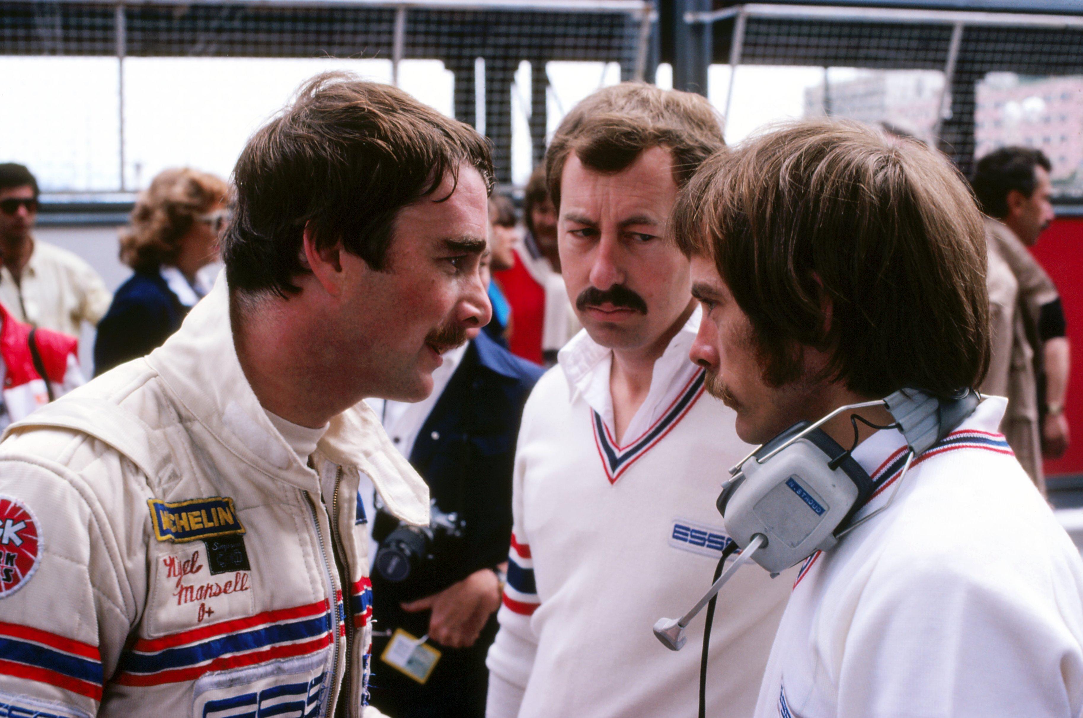 (L to R): Nigel Mansell (GBR) Lotus; Peter Collins (AUS) Lotus Team Manager and Nigel Stroud (GBR) Lotus Engineer. Monaco Grand Prix, Rd6, Monte-Carlo, Monaco, 31 May 1981. BEST IMAGE